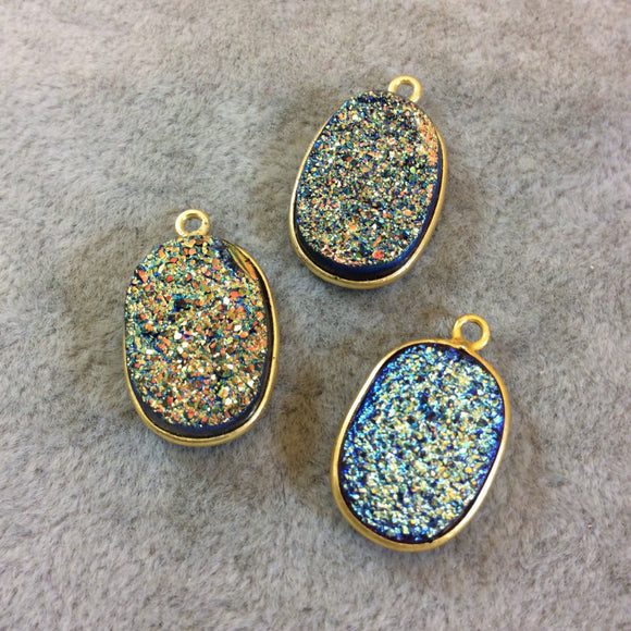 Gold Finish Blue/Gold Resin Druzy Oblong Oval Shaped Bezel Pendant/Charm Drop Component - Measuring 13mm x 17mm - Sold Individually