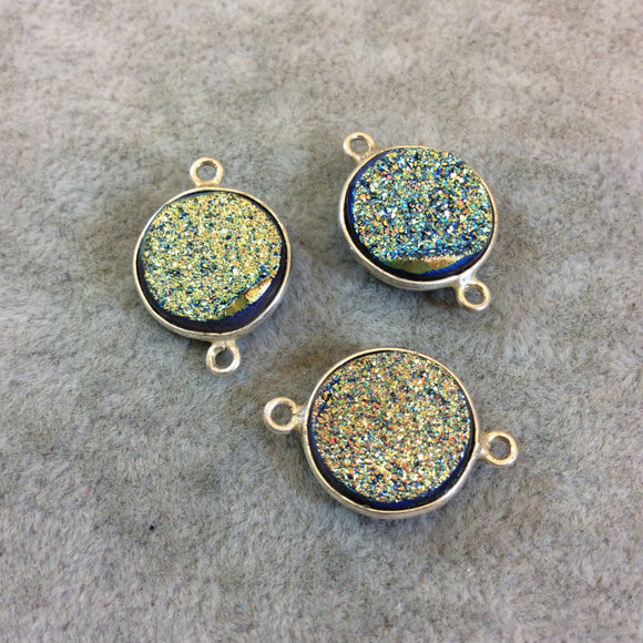 Silver Finish Blue/Gold Resin Druzy Round/Circular Shaped Bezel Two Ring Connector Component - Measuring 14mm x 14mm - Sold Individually
