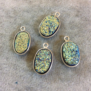 Silver Finish Blue/Gold Resin Druzy Oblong Oval Shaped Bezel Pendant/Charm Drop Component - Measuring 10mm x 15mm - Sold Individually