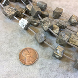 Rough Natural Pyrite Cube Bead Strand, 10mm, approx. 18 beads per strand