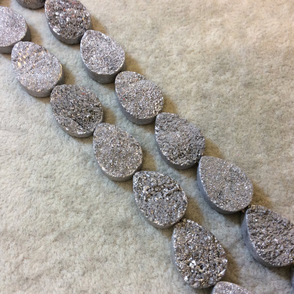 Premium Beautiful Silver Druzy Geode Teardrop Beads, 12mm x 18mm, 11 beads per strand
