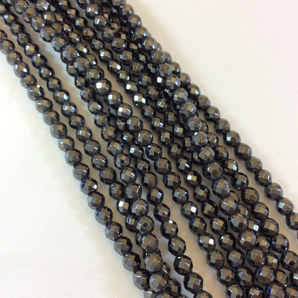 4mm Faceted Natural Hematite Round Bead Strand - Semi-Precious Gemstone