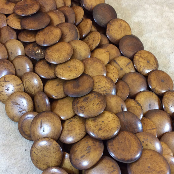 18mm Natural/Brown Lentil Shaped Bone Beads - 16