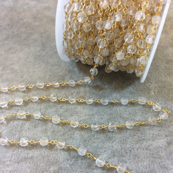 Gold Plated Copper Rosary Chain with 4mm Round Faceted Crystal Beads - Sold by the Foot, or in Bulk! - Natural Semi-Precious Beaded Chain