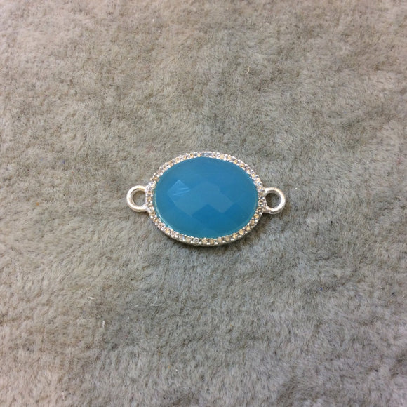 Silver Finish Faceted CZ Rimmed Aqua Chalcedony Oval Shaped Bezel Connector Component - Measures 14mm x 18mm - Sold Individually