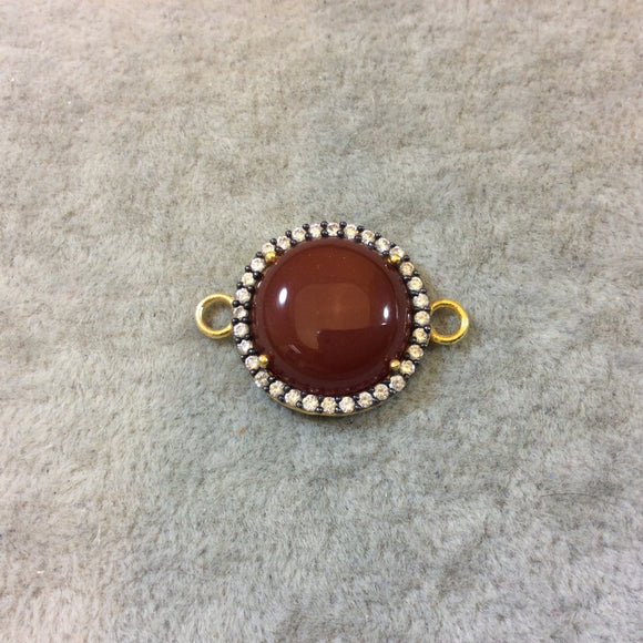 Gold Finish Smooth CZ Rimmed Carnelian Round Shaped Bezel Connector Component - Measures 20mm x 20mm - Sold Individually