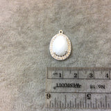 Silver Finish Faceted CZ Rimmed White Onyx Oval Shaped Bezel Pendant Component - Measures 14mm x 19mm - Sold Individually