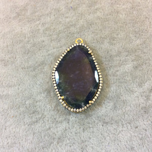 Gold Finish Faceted CZ Rimmed Blue Sapphire Freeform Shaped Bezel Pendant Component - Measures 24mm x 34mm - Sold Individually