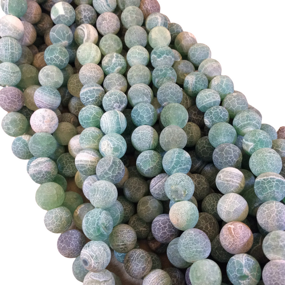 10mm Matte Finish Smooth Round Green Crackle/Veined Agate Beads - 15