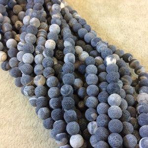 "6mm Matte Finish Smooth Round Black/Gray Crackle/Veined Agate Beads - 15.5"" Strand (Approximately 65 Beads) - Natural Semi-Precious Gemstone"