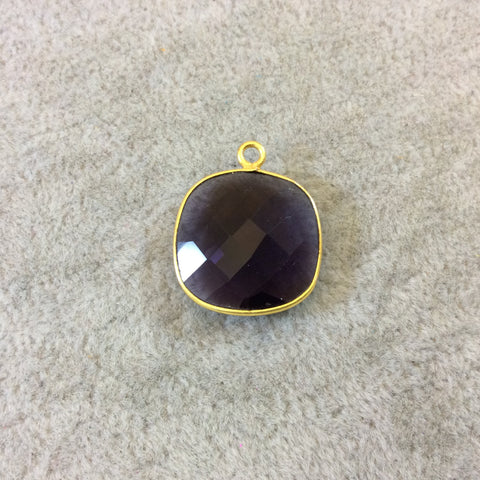 Gold Finish Faceted Deep Purple Quartz Square Shaped Bezel Pendant Component - Measuring 18mm x 18mm - Natural Semi-precious Gemstone
