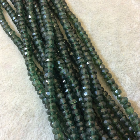 "3mm Faceted Green Apatite Rondelle Beads - 14"" Strand (Approximately 154 Beads) - Natural Semi-Precious Gemstone"