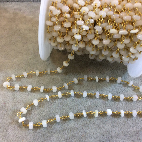 Gold Plated Copper Rosary Chain with 4mm Opal Rondelle Beads - Sold by the Foot, or in Bulk! - Natural Semi-Precious Beaded Chain