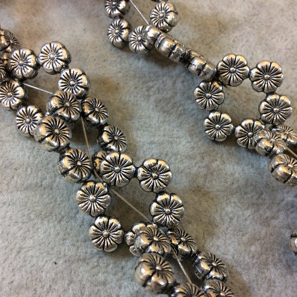 Silver Finish Floral Pattern Lei Shaped Pewter Beads - 7-8