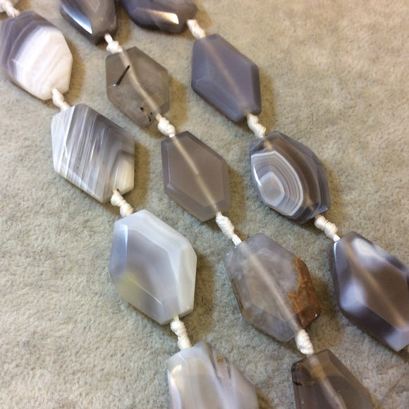 Faceted Botswana Agate Nugget Slab Beads - 16