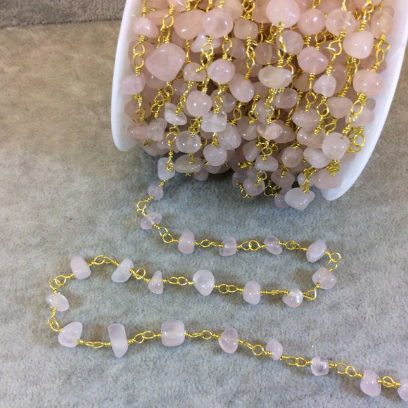 Gold Plated Copper Rosary Chain with 4-8mm Rose Quartz Chip Beads - Sold by the Foot, or in Bulk! - Natural Semi-Precious Beaded Chain