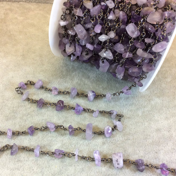 Gunmetal Plated Copper Rosary Chain with 4-8mm Amethyst Chip Beads - Sold by the Foot, or in Bulk! - Semi-Precious Beaded Chain