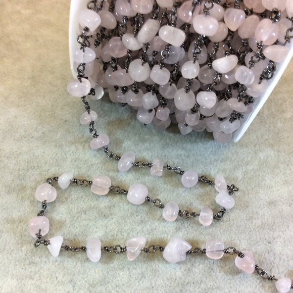 Gunmetal Plated Copper Rosary Chain with 4-8mm Rose Quartz Chip Beads - Sold by the Foot, or in Bulk! - Natural Semi-Precious Beaded Chain