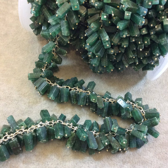 Silver Plated Copper Double Dangle Rosary Chain with 6-10mm Rectangle Shaped Aventurine Beads - Sold by the Foot Only - Natural Beaded Chain