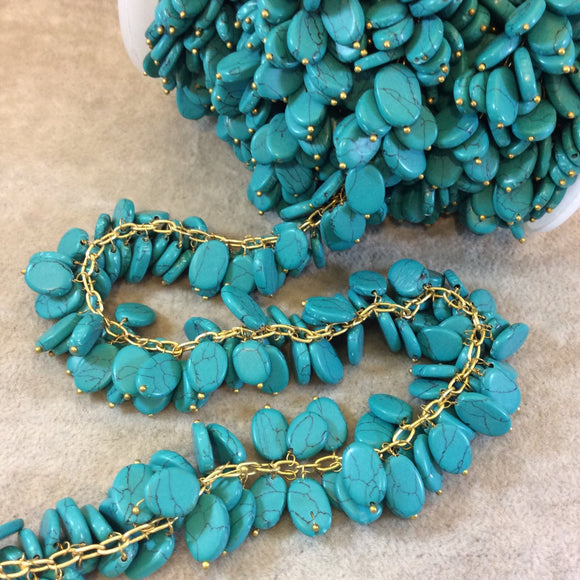 Gold Plated Copper Double Dangle Rosary Chain with 8-10mm Oval Shaped Syn. Teal Turquoise Beads - Sold by the Foot Only - Beaded Chain