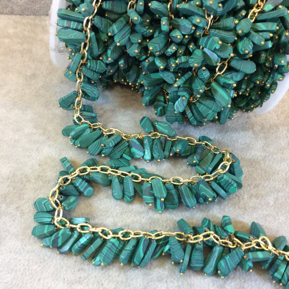 Gold Plated Copper Double Dangle Rosary Chain with 8-10mm Teardrop/Pear Shaped Syn. Malachite Beads - Sold by the Foot Only - Beaded Chain