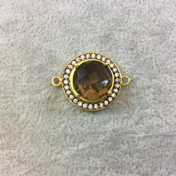 Gold Finish Faceted CZ Rimmed Smoky Quartz Round/Circle Shaped Bezel Connector Component - Measures 21mm x 21mm - Sold Individually