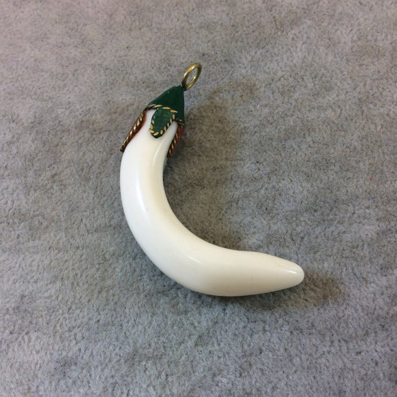 SALE - Small Curved Resin Tusk/Claw Shaped Pendant with Decorative Clay/Metal Cap - Measuring 14mm x 55mm, Approx. - Sold Individually