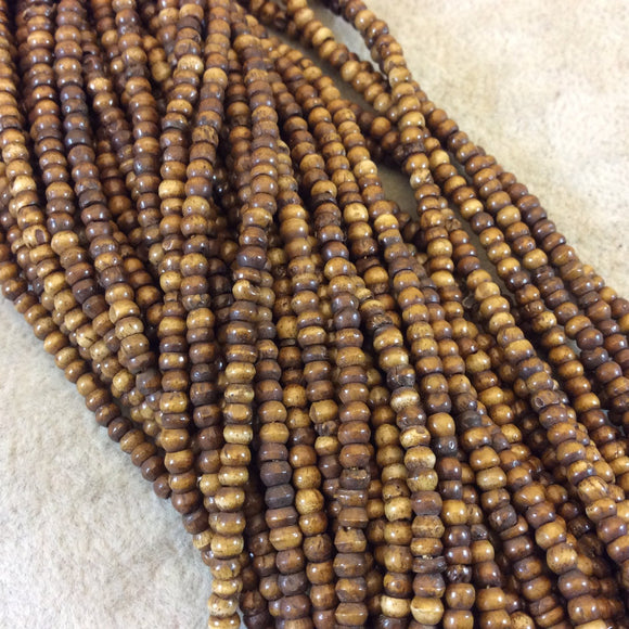 3mm Warm Brown Colored Smooth Ox Bone Round/Rondelle Beads with 1mm Holes - 16