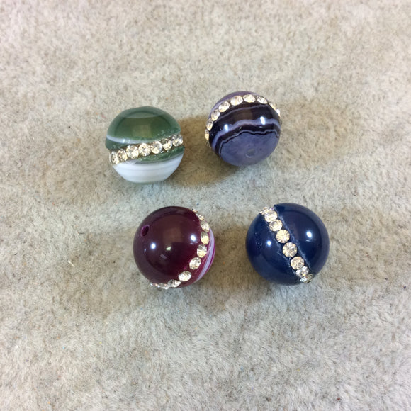 14mm Rhinestone Hemisphere Inlaid Multicolor Agate Round/Ball Shape Beads - Sold in Packs of Four (4) - Natural Semi-Precious Loose Gemstone