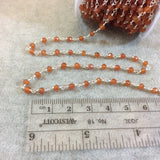 Silver Plated Copper Rosary Chain with Faceted 4mm Rondelle Shaped Carnelian Beads - Sold by the Foot! (CH113-SV) - Natural Beaded Chain
