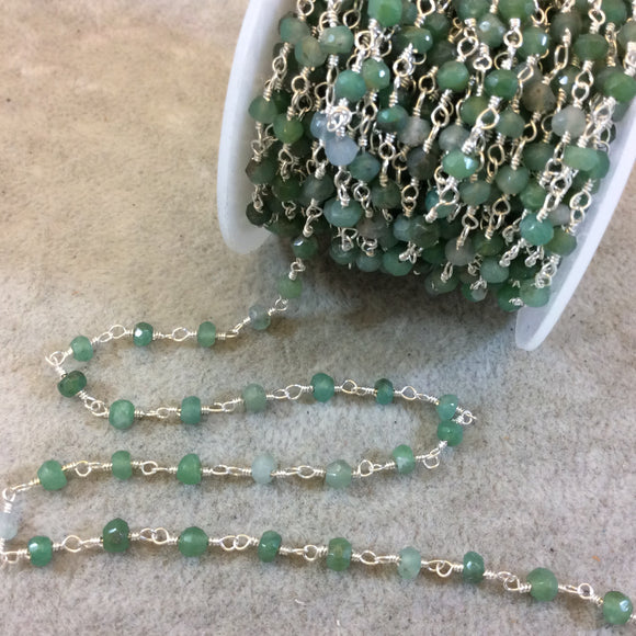 Silver Plated Copper Rosary Chain with Faceted 4mm Rondelle Shaped Chrysoprase Beads (CH118-SV) - Sold by the Foot! - Natural Beaded Chain