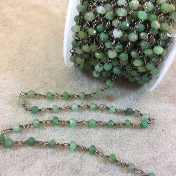 Gunmetal Plated Copper Rosary Chain with Faceted 4mm Rondelle Shape Chrysoprase Beads (CH118-GM) - Sold by the Foot! - Natural Beaded Chain
