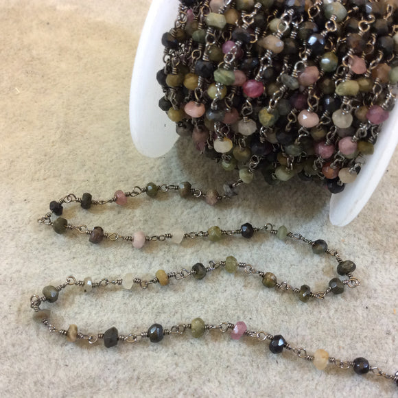 Gunmetal Plated Copper Wrapped Rosary Chain with 3-4mm Faceted Natural Tourmaline Rondelle Shape Beads  (CH117-GM) Sold by 1' Cut Sections!