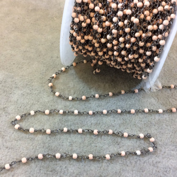Gunmetal Plated Wrapped Copper Rosary Chain with Smooth 2mm Round Shaped Dyed Light Pink Howlite Beads - Sold in 1' Increments - (CH006-GM)