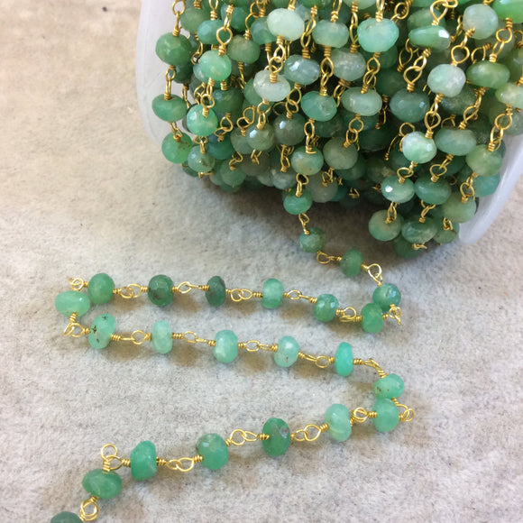 Gold Plated Copper Rosary Chain with Faceted 6-7mm Rondelle Shaped Chrysoprase Beads (CH323-GD) - Sold by the Foot! - Natural Beaded Chain