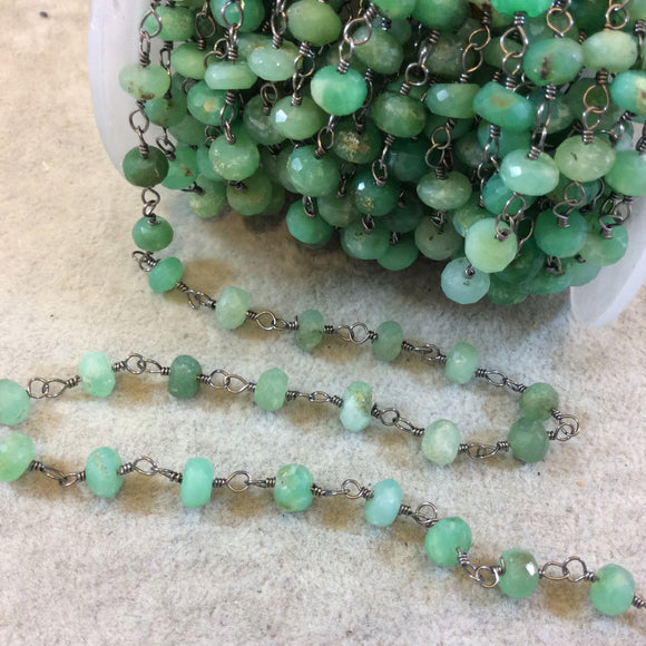 Gunmetal Plated Copper Rosary Chain with Faceted 6-7mm Rondelle Chrysoprase Beads - Sold by the Foot! (CH323-GM) - Natural Beaded Chain