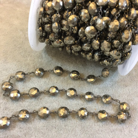 Gunmetal Plated Copper Rosary Chain with Faceted 6-7mm Coin Shaped Pyrite Beads (CH353-GM) - Sold by the Foot! - Natural Beaded Chain