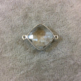 Silver Finish Faceted Clear Quartz Diamond Shaped Plated Copper Bezel Connector Component - Measures 15mm x 15mm - Sold Individually