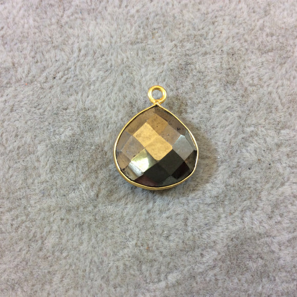 Gold Finish Faceted Teardrop Shaped Pyrite (Fool's Gold) Bezel Pendant Component - Measuring 15mm x 15mm - Natural Semi-precious Gemstone