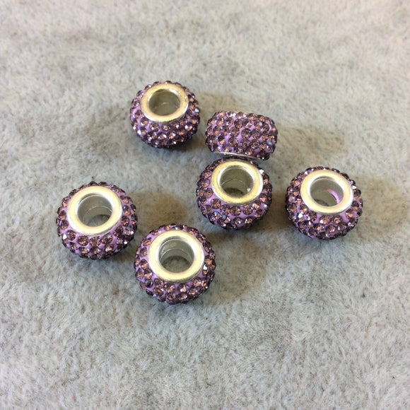8mm x 12mm Lavender Rhinestone Inlaid Silver Metal Rondelle Beads - Sold in Packs of Six (6) - European Charm Bracelet Style Beads