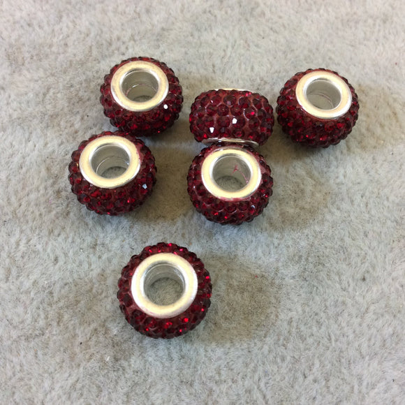 8mm x 12mm Dark Red Rhinestone Inlaid Silver Metal Rondelle Beads - Sold in Packs of Six (6) - European Charm Bracelet Style Beads