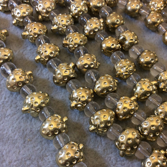 Gold Finish Detailed Strawberry Shaped Plated Pewter Beads - 7-8