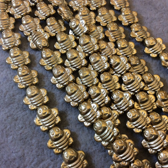 Gold Finish Happy Flat Bumble Bee Shaped Plated Pewter Beads (29493)- 7-8