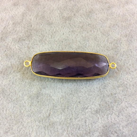 Long Gold Finish Faceted Purple Quartz Rectangle Shaped Bezel Connector Component - Measuring 13mm x 37mm - Natural Semi-precious Gemstone