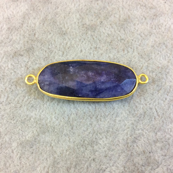 Long Gold Finish Faceted Blue Sapphire Oval Shaped Bezel Connector Component - Measuring 14mm x 32mm - Natural Semi-precious Gemstone