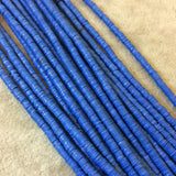 "3mm African Bright Blue Vinyl Heishi Beads - 9"" Strand (Approximately 500 Beads) - Funky Tribal Trade Beads Made From Recycled Vinyl Records"
