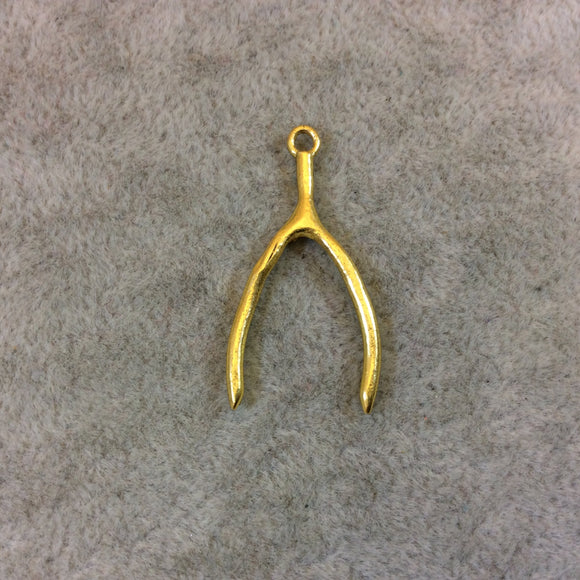 Gold Finish Lucky Wishbone Shaped Good Luck Pendant/Charm Components with Attached Ring -measures 16mm x 29mm - Sold in Packs of 10 (297-GD)