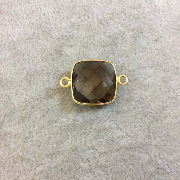 Gold Finish Faceted Smoky Quartz Square Shaped Bezel Two Ring Connector Component - Measuring 15mm x 15mm - Natural Gemstone Bezel