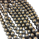 "10mm Natural Round/Ball Shaped Pyrite Beads - 15.5"" Strand (Approx. 40 Beads) - Natural Semi-Precious Gemstone Beads - Sold By The Strand"