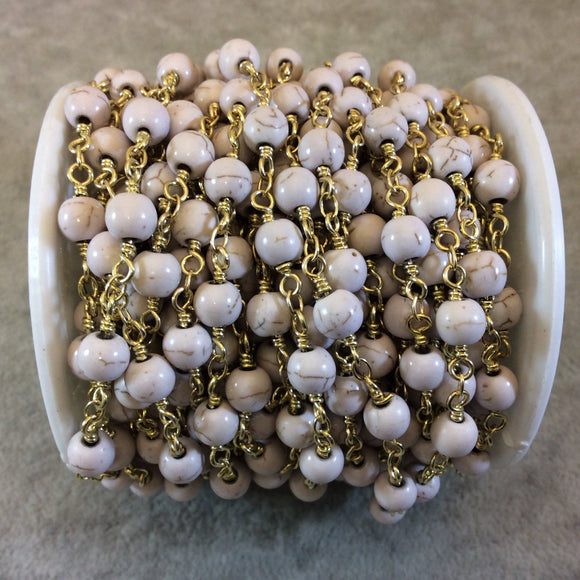 Gold Plated Copper Rosary Chain with Smooth 6mm Round Shaped Ivory Howlite Beads - Sold by the Foot, or in Bulk! - Natural Beaded Chain
